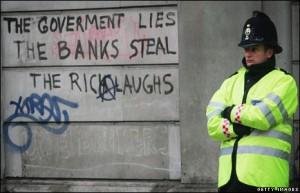 Protest grafitti on London