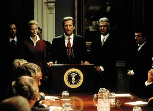 "As the US prez in ""The Contender"""