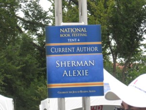 Sign in front of Alexie's signing tent