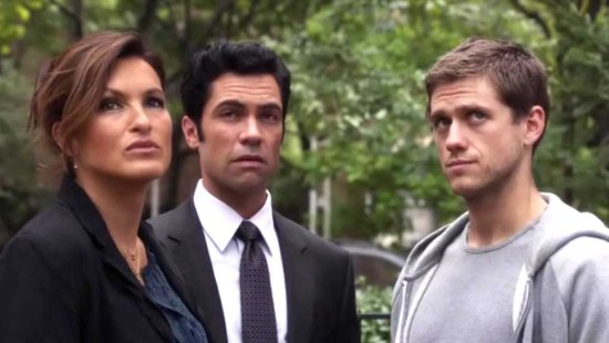 Mariska Hargitay, Danny Pino, and Aaron on SVU