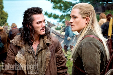 Luke Evans as The Bard and Orlando Bloom as Legolas - Entertainment Weekly magazine