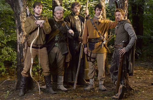Jonas Armstrong as Robin with his band of merry men