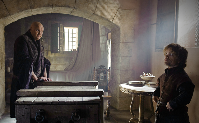 Tyrion (Peter Dinklage) requests Varys' help in getting evidence against Cersei