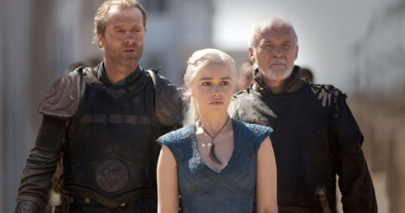 Dany and her two advisors, Ser Jorah and Ser Barristan