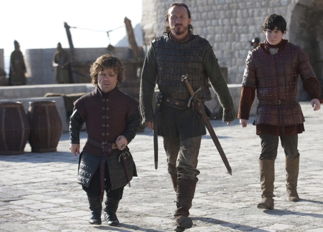 Tyrion with Ser Bronn and Pod