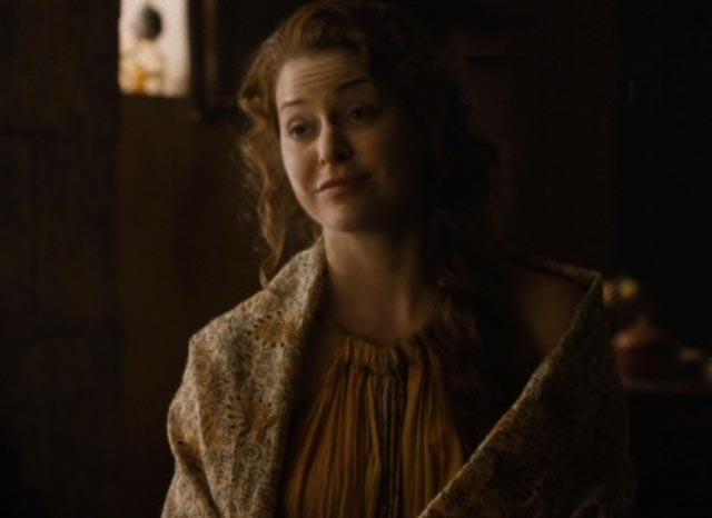 Ros (Esme Bianco)  comes to Varys (Conleth Hill) with info on her boss, Littlefinger