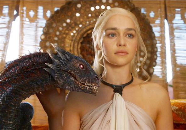 Dany and one of her dragons