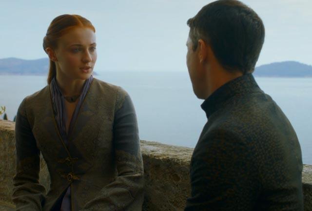 Sansa and Littlefinger have a talk.
