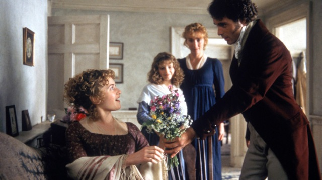 Marianne receives flowers from Mr. Willoughby (Greg Wise)