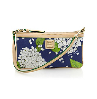 Dooney & Bourke hydrangea large slim wristlet (white/marine)