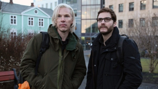 "Juilan Assange (Benedict Cumberbatch) and Daniel Berg (Bruhl) in ""The Fifth Estate"""