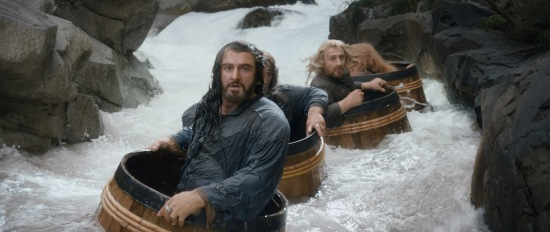 The barrel scene (the dwarves escape the dungeon)
