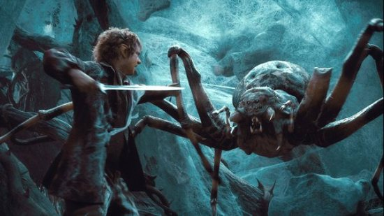 Bilbo (Martin Freeman) fights a giant spider in Mirkwood Forest