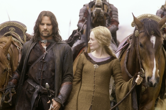 Eowyn (Miranda Otto) asks Aragorn (Viggo Mortensen) about the jewel (Evenstar)