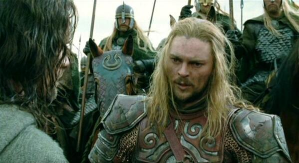 Eomer (Karl Urban) has been banished from Rohan