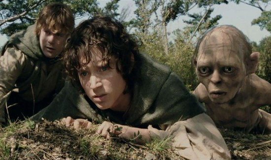 Sam (Sean Astin), Frodo (Elijah Wood), and Gollum (Andy Serkis)