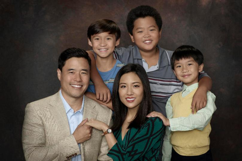 "FRESH OFF THE BOAT - ABC's ""Fresh Off the Boat"" stars Randall Park as Louis Huang, Forrest Wheeler as Emery Huang, Constance Wu as Jessica Huang, Hudson Yang as Eddie Huang and Ian Chen as Evan Huang. (ABC/Bob D'Amico)"